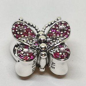 📿Pandora  Pink Pavé Butterfly Charm